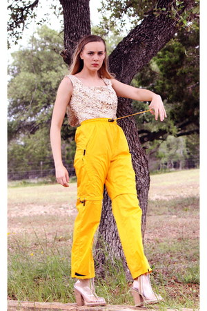 yellow vintage pants - white clear pvc Jeffrey Campbell boots