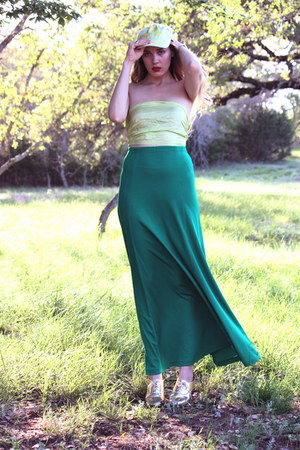 green maxi vintage skirt - gold American Apparel shoes