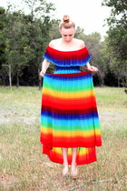 red technicolor vintage nieman marcus dress
