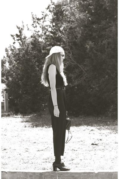 black patent American Apparel shoes - white tie-dye whhttt hat