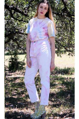 diy tie dye Generic socks - clear pvc Jeffrey Campbell boots - Bill Blass jeans