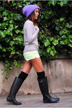 pull&bear shorts - Bershka boots - Zara jumper