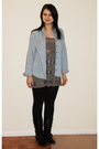Blue-topshop-blouse-gray-h-m-shirt-black-shoe-zone-boots