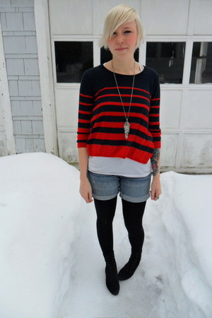 thrifted vintage boots - H&M sweater - black sweater Gap tights - denim Gap shor