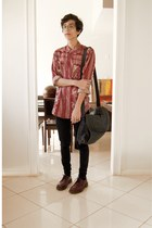 brick red Insight del monte shirt - crimson Dr Martens shoes - navy Kipling bag