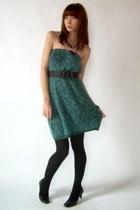 vintage dress - American Apparel tights - etienne aigner shoes - vintage belt