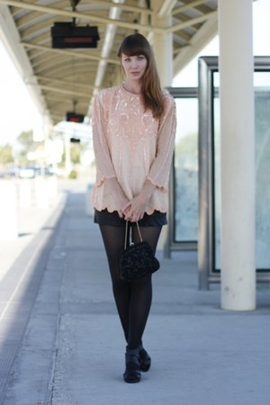 peach vintage blouse - black Target tights - black vintage bag