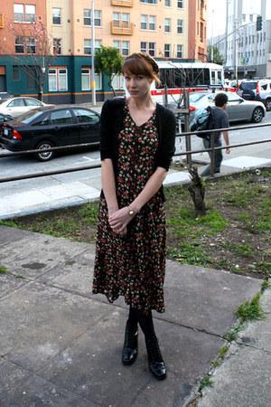 black vintage boots - black vintage dress - black Target tights - black Target c