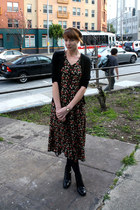 black vintage boots - black vintage dress - black Target tights - black Target c