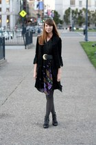 black vintage dress - black vintage jacket - gray Target tights