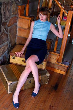 blue httpmousevoxetsycom dress - blue vintage shoes