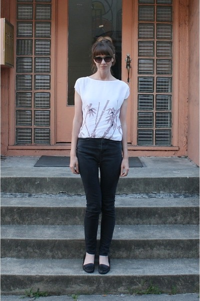 white vintage blouse - black Silence & Noise jeans - black Nine West flats