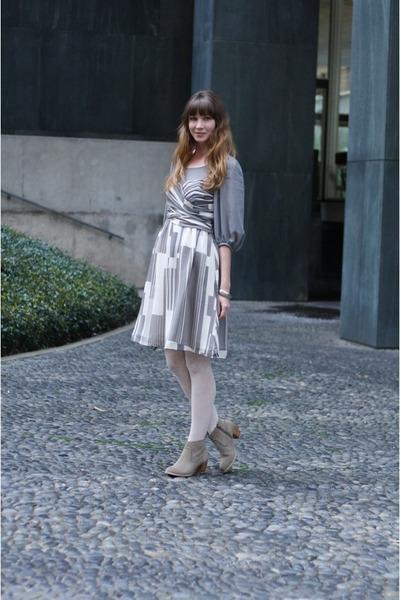 heather gray Anthropologie dress - beige Dolce Vita boots