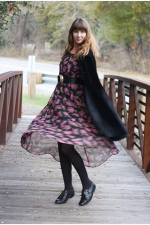 pink vintage dress - black vintage coat - black vintage loafers