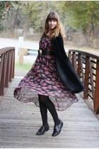 pink vintage dress - black vintage coat - black vintage loafers