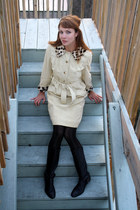eggshell vintage dress - black Target tights - black calvin klein boots