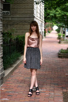 nude Mousevox Vintage top - black Mousevox Vintage skirt - black Target wedges -