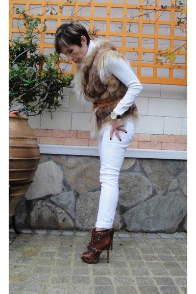 brown asos boots - white Cheap Monday jeans - white Zara sweater - beige vest -