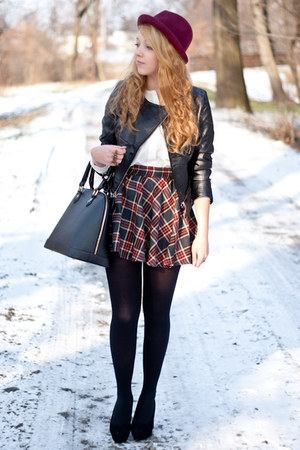 navy Choies skirt - black Papilion shoes - black Sheinside jacket