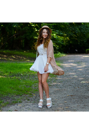 white Papilion shoes - white 6ks dress - camel romwe hat - white PERSUNMALL bag