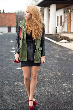 black lashes skirt - ruby red Sheinside shoes - olive green Choies jacket