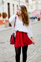 red OASAP skirt - black Stylish Plus shoes - white Choies sweater