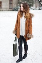 brown Sheinside coat - black Czas na buty boots - silver H&M sweater