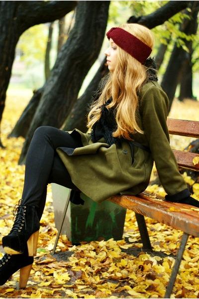 black CzasNaButy boots - olive green romwe coat - ruby red Iloko hat