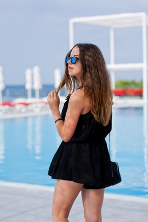 black Choies shoes - black Zara bag - blue Vans sunglasses - black OASAP romper