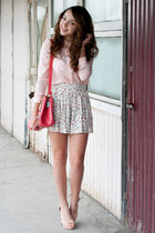 ivory H&M skirt - light pink NN shoes - light pink romwe shirt