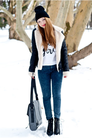 black VJ Style boots - black no name hat - black VJ Style jacket