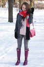 Magenta-hunter-boots-light-pink-romwe-sweater-charcoal-gray-h-m-sweater