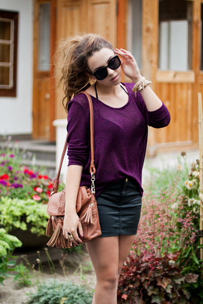 black allegro sunglasses - brown Czas na buty shoes - magenta H&M sweater