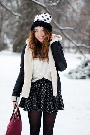 black H&M boots - white asos hat - black VJ-style jacket
