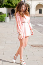 white wholesale shoes - light pink Sheinside dress - ivory PERSUNMALL bag