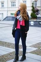 black romwe jacket - bubble gum H&M scarf - black VJ Style bag