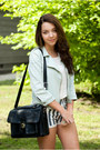 Light-blue-sinsay-jacket-white-zara-sweater-black-romwe-bag