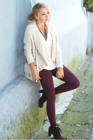 ivory Bershka sweater - dark brown romwe shoes - maroon H&amp;M leggings