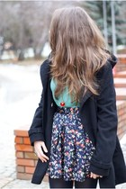 navy romwe skirt - black H&M coat - turquoise blue H&M sweater