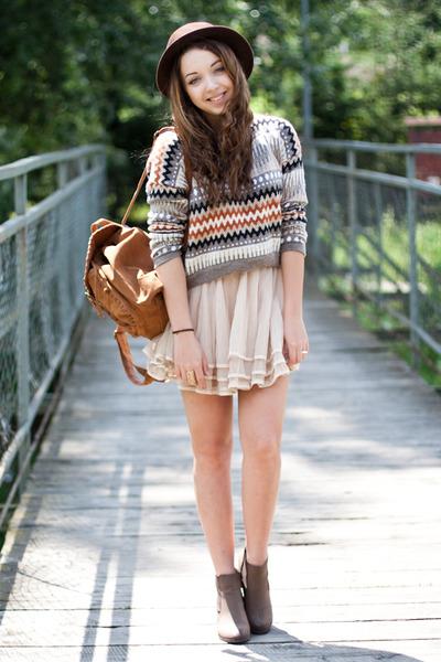 brown Chicwish bag - dark brown Papilion shoes - dark brown OASAP hat