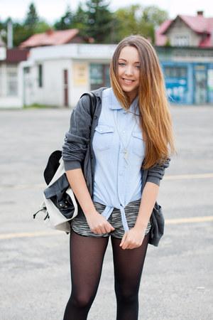 light blue 6ks shirt - black Converse shoes - heather gray H&M sweater