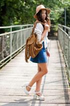 white wholesale shoes - tan romwe hat - bronze Zara bag - white romwe blouse