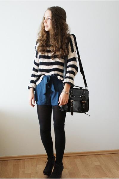 black Gatta tights - navy Topshop sweater - black romwe bag - blue romwe shorts