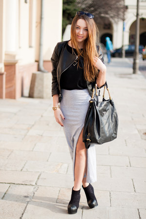 silver romwe skirt - black PERSUNMALL shoes - black Sheinside jacket