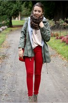 green romwe jacket - beige romwe sweater - ruby red AX Paris leggings