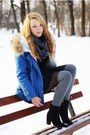 Blue-sheinside-jacket-black-h-m-shoes-charcoal-gray-szaleo-scarf