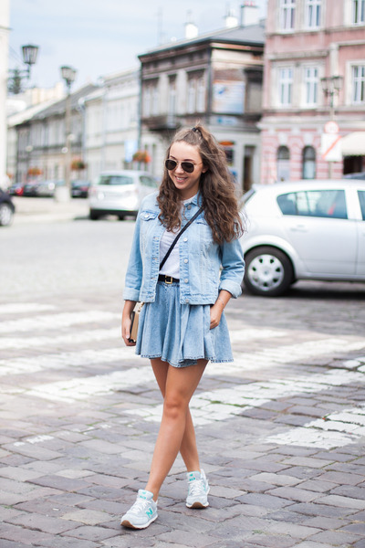 black Choies bag - sky blue Dorothy Perkins jacket - sky blue blackfive shorts