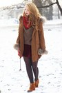 Brown-sheinside-coat-dark-brown-romwe-sweater-ruby-red-iloko-scarf
