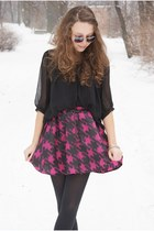 hot pink fashionfreak skirt - black H&M coat - black szaleo gloves