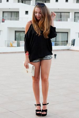 black wholesale shoes - ivory Sheinside bag - charcoal gray H&M shorts